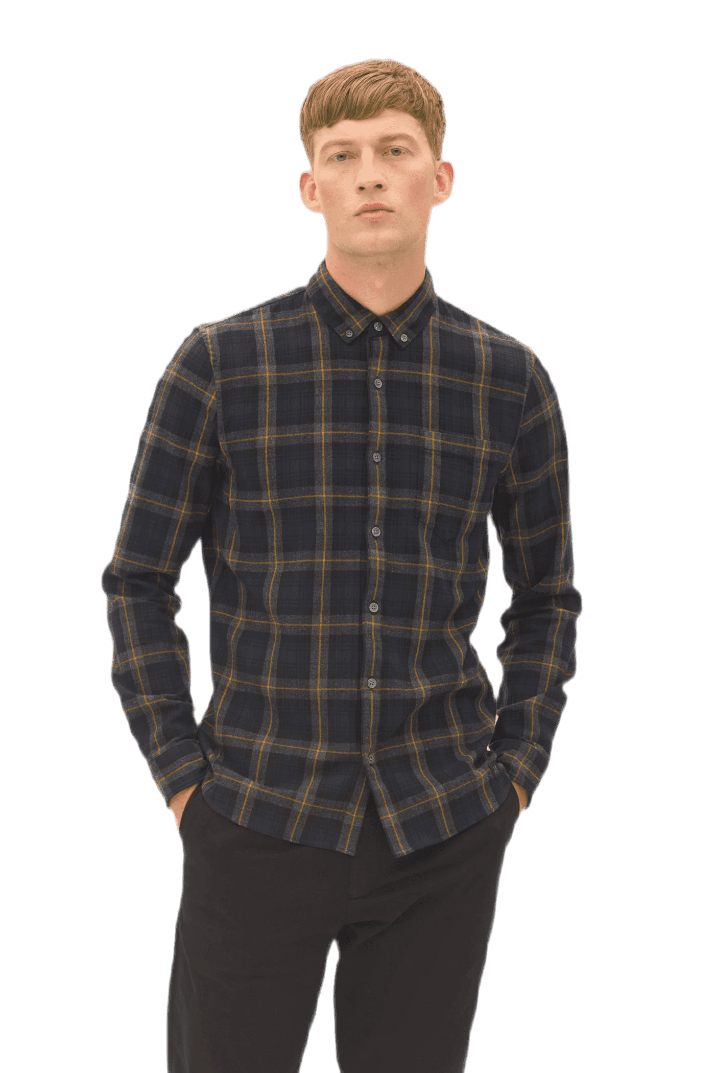 Brushed check button down