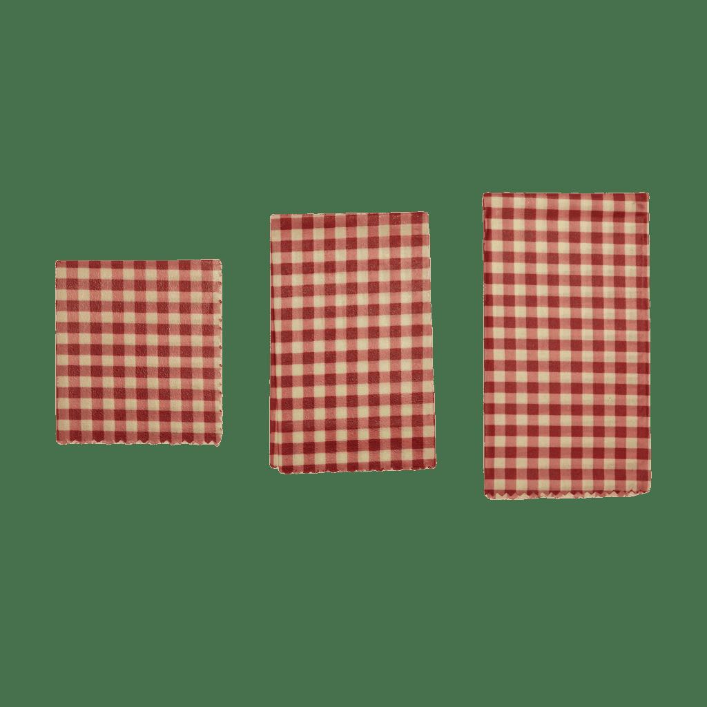 Reusable beeswax wraps gingham